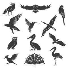 Stylized Birds Silhouettes Black Icons Set