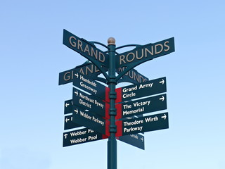 Directional Sign at Victory Memorial Park in Minneapolis