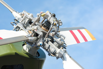 Fototapete - close-up of helicopter tail rotor blades