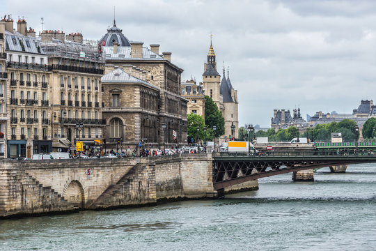 The picturesque embankments of the Seine River in Paris. France.
