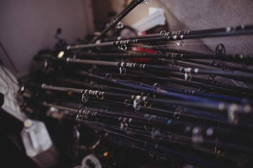 Close-up of fishing rods