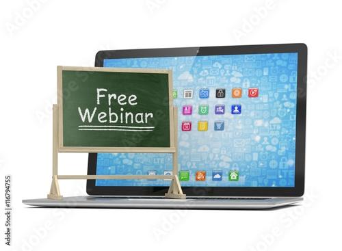 Laptop With Chalkboard Free Webinar Online Education