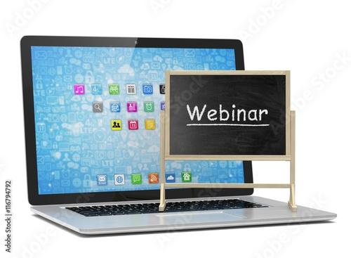 Laptop With Chalkboard Webinar Online Education Concept