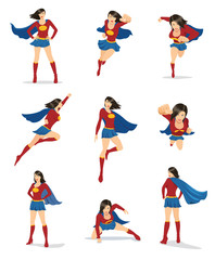 Set of female superhero in 9 different poses. You can place your company name and logo on their chest.