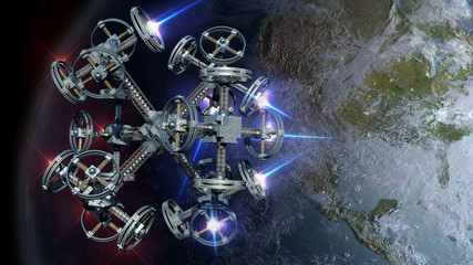 3D Illustration of alien spaceship probing Earth for games, futuristic deep space travel or science fiction backgrounds