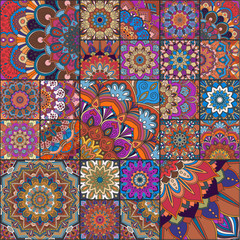 Boho tiles of different size