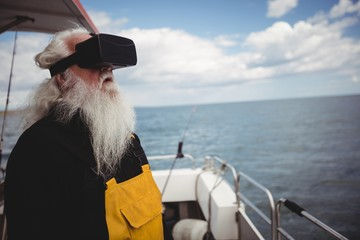 Fisherman using virtual reality glasses