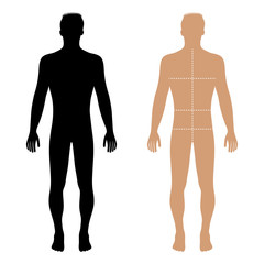 Fashion man solid template figure silhouette with marked body's