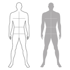 Fashion man outlined template figure silhouette with marked body