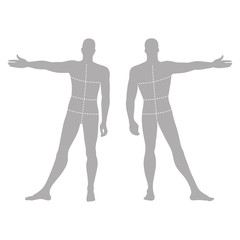 Fashion man's solid template figure silhouette (front & back vie