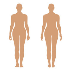 Fashion woman's solid template figure silhouette (front & back v
