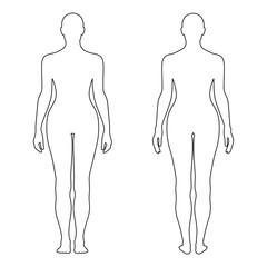 Fashion woman's outlined template figure silhouette (front & bac