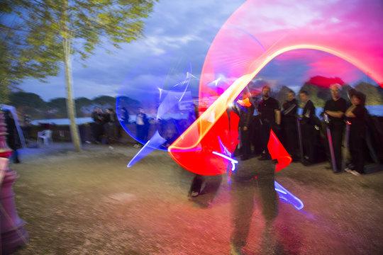 lightsabers light painting fight