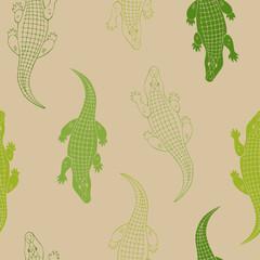 Crocodile animal seamless pattern green beige background illustration vector