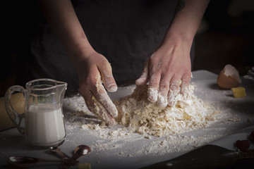 Valentine's Day baking, woman preparing dough for cookies