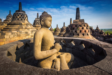 Papiers peints Edifice religieux Buddha statue in Borobudur Temple, Java island, Indonesia.