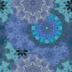 Pastel blue vintage seamless pattern in oriental style. Indian, arabic, ottoman, turkish, japanese, chinese floral design for background or front-side. Eastern ornament for wrapping-paper or textil.
