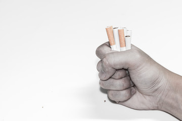 refusing cigarettes , Concept for stop smoking cigarette and healthy lifestyle