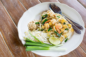 Pad Thai noodle serving on a table