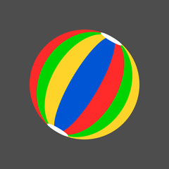 Simple striped beach ball cartoon style icon. Isolated vector illustration.