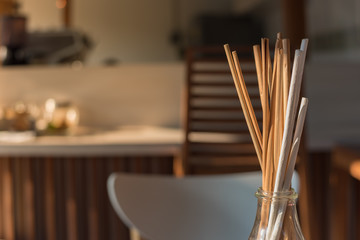 Dried twigs for cafe decoration. Selective Focus.