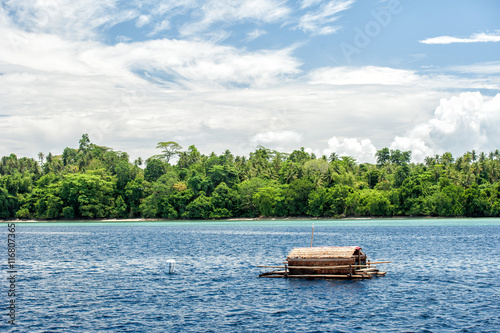 Small wood floating fishing platform in sulawesi for Floating fishing platform