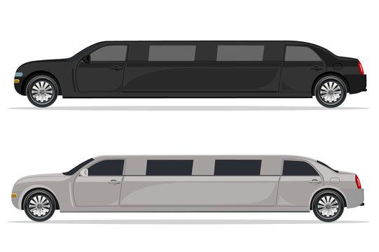 white and black limousine, design element, flat, vector illustration