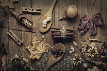 autumn background with fruits and spices with dried flowers plac