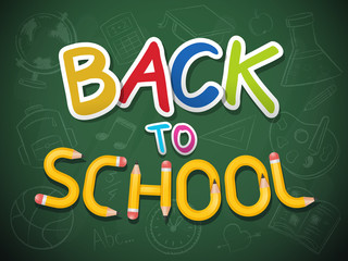 Blackboard with back to school text and chalk drawn school icons vector illustration