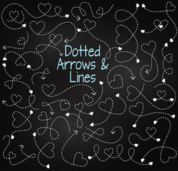Vector Set of Chalkboard Dotted Arrows and Connecting Lines with Hearts
