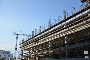 scaffold construction site concrete armoring iron