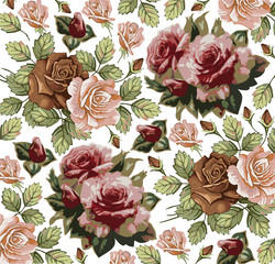 Roses. Classic pattern. Beautiful pink flowers isolated realistic. Vintage background with blooming flowers. Drawing, engraving. Freehand. Wallpaper. Vector victorian style Illustration.