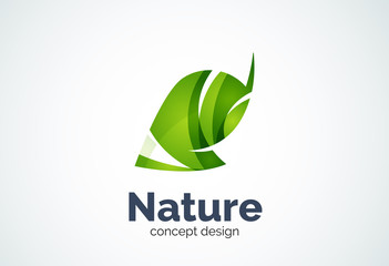 Abstract business company leaf logo template, green concept