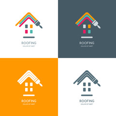 House repair, roofing vector logo, label, emblem design. Staining roof of house, isolated icon. Concept for building, house construction and painting.