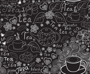 """Food and drink vector seamless pattern with tea cups, teapots, tea leaves and words """"tea"""", handwritten by chalk on grey board"""