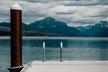 Ladder form pier into water, Lake Mcdonald, Glacier National Park, Montana