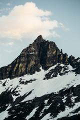 Snow covered mountains peak, Glacier National Park, Montana