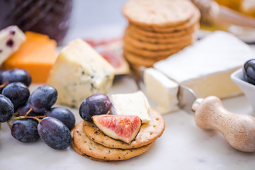 crackers with selection of cheese
