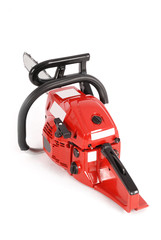 Red professional chainsaw