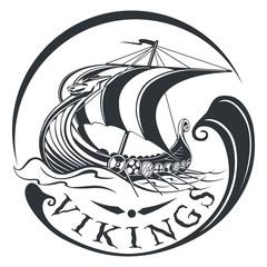Drakkar, boat Viking, vintage sailing warship, vector illustrati