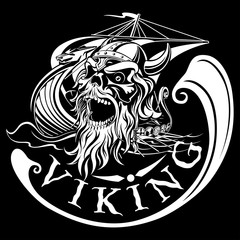 Viking skull on a background of Drakkar, warship, vector illustr