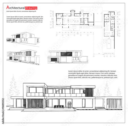 Wireframe blueprint drawing of 3d building house vector wireframe blueprint drawing of 3d building house vector architectural template background malvernweather Gallery