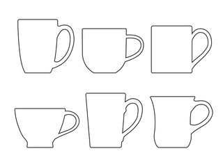 Various tea mugs - outline. Vector illustration.