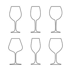 Various wine glasses - outline. Isolated on white background. Vector illustration.