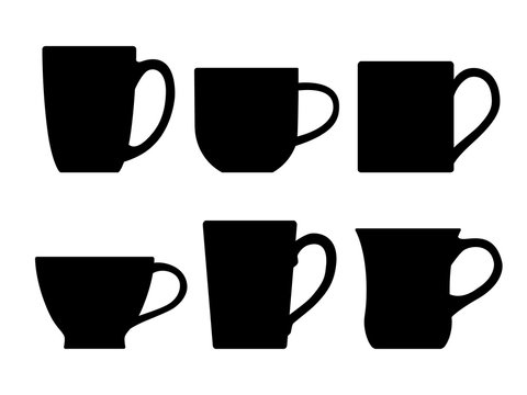 Various tea mugs. Vector illustration.