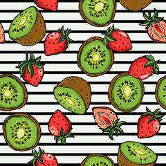Kiwi Strawberry Surface Pattern. Isolated Fruity Illustration Vector on Background.