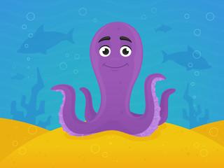 Happy octopus under the sea vector cartoon illustration
