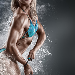 Bodybuilder woman in bikini