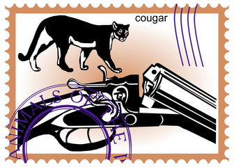 stamp hunting rifle puma cougar panther American mountain lion r