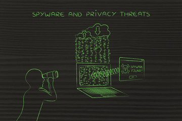 man with binoculars spying on private data, spyware found pop-up